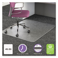 deflecto® UltraMat All Day Use Chair Mat for High Pile Carpet, 45 x 53, Rectangular, Clear