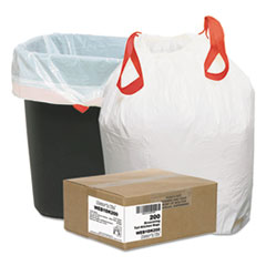 "Draw 'n Tie® Heavy-Duty Trash Bags, 13 gal, 0.9 mil, 24.5"" x 27.38"", White, 200/Box"