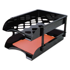 """Officemate High-Capacity Tray Set, 2 Sections, Legal Size Files, 11.5"""" x 15.5"""" x 5.75"""", Black, 2/Pack"""