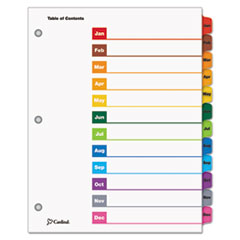 Cardinal® OneStep Printable Table of Contents and Dividers, 12-Tab, Jan. to Dec., 11 x 8.5, White, 1 Set