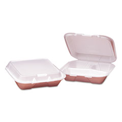 GEN Foam Hinged Carryout Containers, 3-Compartment, Small, White, 100/PK, 2 PK/CT