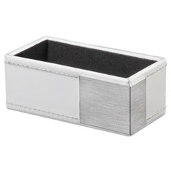 Artistic™ Architect Line Business Card Holder, Holds 50 2 x 3 1/2, White/Silver AOPART43001WH
