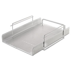 "Urban Collection Punched Metal Letter Tray, 1 Section, Letter Size Files, 10"" x 13.75"" x 3.5"", White"