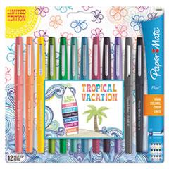 Limited Edition Point Guard Flair Stick Porous Point Pen, Medium 0.7mm, Tropical Ink/Barrel, Dozen