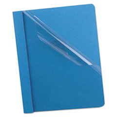 Oxford™ Premium Paper Clear Front Cover, 3 Fasteners, Letter, Light Blue, 25/Box