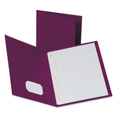 "Oxford™ Twin-Pocket Folders with 3 Fasteners, Letter, 1/2"" Capacity, Burgundy, 25/Box"