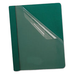 Oxford™ Premium Paper Clear Front Cover, 3 Fasteners, Letter, Green, 25/Box