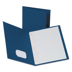"Oxford™ Twin-Pocket Folders with 3 Fasteners, Letter, 1/2"" Capacity, Blue, 25/Box"