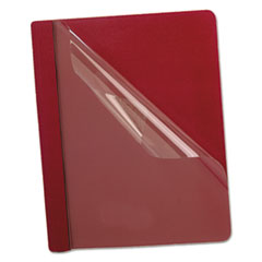 Oxford™ Premium Paper Clear Front Cover, 3 Fasteners, Letter, Red, 25/Box