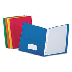 "Oxford™ Twin-Pocket Folders with 3 Fasteners, Letter, 1/2"" Capacity, Assorted, 25/Box"