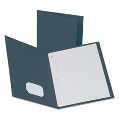 "Oxford™ Twin-Pocket Folders with 3 Fasteners, Letter, 1/2"" Capacity, Dark Blue, 25/Box"
