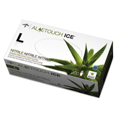 Medline Aloetouch Ice Nitrile Exam Gloves, Large, Green, 200/Box