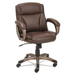 Alera® Alera Veon Series Low-Back Leather Task Chair, Supports up to 275 lbs., Brown Seat/Brown Back, Bronze Base