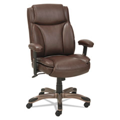 Alera® Alera Veon Series Leather Mid-Back Manager's Chair, Supports up to 275 lbs., Brown Seat/Brown Back, Bronze Base
