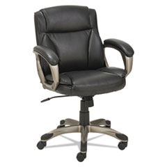 Alera® Alera Veon Series Low-Back Leather Task Chair, Supports up to 275 lbs., Black Seat/Black Back, Graphite Base
