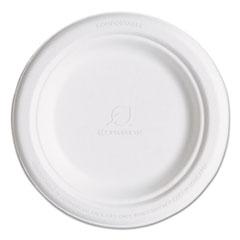 "Renewable and Compostable Sugarcane Plates, 6"" dia, Natural White, 1,000/Carton"