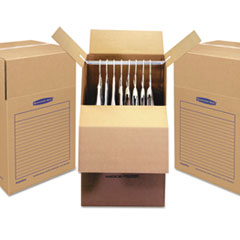 "Bankers Box® SmoothMove Wardrobe Box, Regular Slotted Container (RSC), 24"" x 24"" x 40"", Brown Kraft/Blue, 3/Carton"
