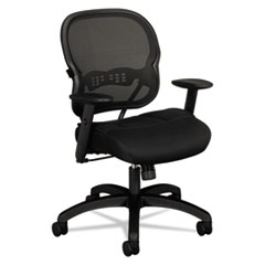 Wave Mesh Mid-Back Task Chair, Supports up to 250 lbs., Black Seat/Black Back, Black Base