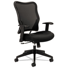 HON® VL702 Mesh High-Back Task Chair, Supports up to 250 lbs., Black Seat/Black Back, Black Base