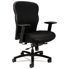 HON® Wave Mesh Big and Tall Chair, Supports up to 450 lbs., Black Seat/Black Back, Black Base