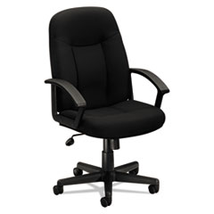 HON® HVL601 Series Executive High-Back Chair, Supports up to 250 lbs., Black Seat/Black Back, Black Base