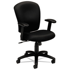HON® HVL220 Mid-Back Task Chair, Supports up to 250 lbs., Black Seat/Black Back, Black Base