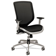HON® Boda Series Mesh High-Back Work Chair, Supports up to 250 lbs., Black Seat/Black Back, Titanium Base