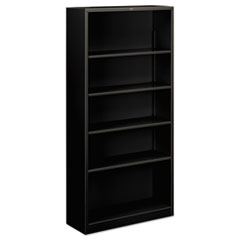 Metal Bookcase, Five-Shelf, 34-1/2w x 12-5/8w x 71h, Black