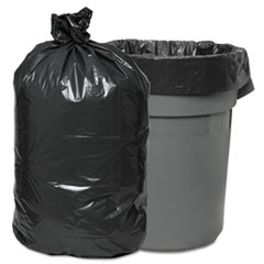 "Boardwalk® Low-Density Waste Can Liners, 60 gal, 0.95 mil, 38"" x 58"", Gray, 100/Carton"