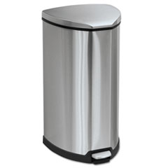Safco® Step-On Waste Receptacle, Triangular, Stainless Steel, 10 gal, Chrome/Black