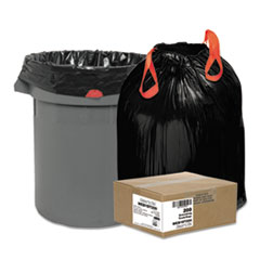 "Draw 'n Tie® Heavy-Duty Trash Bags, 30 gal, 1.2 mil, 30.5"" x 33"", Black, 200/Box"