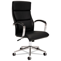 HON® HVL105 Executive High-Back Leather Chair, Supports up to 250 lbs., Black Seat/Black Back, Polished Aluminum Base