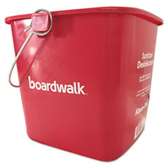 Boardwalk® Sanitizing Bucket, 6 qt, Red, Plastic