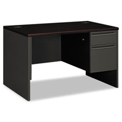 HON® 38000 Series Right Pedestal Desk, 48w x 30d x 29-1/2h, Mahogany/Charcoal