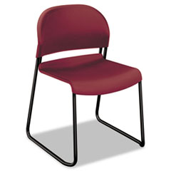 HON® GuestStacker High Density Chairs, Mulberry Seat/Mulberry Back, Black Base, 4/Carton