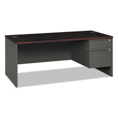 HON® 38000 Series Right Pedestal Desk, 72w x 36d x 29-1/2h, Mahogany/Charcoal