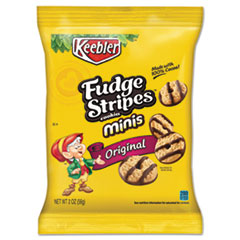 Keebler® Mini Cookies, Fudge Stripes, 2 oz Snack Pack, 8/Box