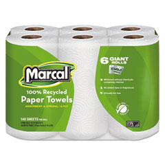 Marcal® 100% Recycled Roll Towels, 2-Ply, 5 1/2 x 11, 140/Roll, 6 Rolls/Pack