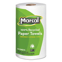 Marcal® 100% Recycled Roll Towels, 2-Ply, 8.8 x 11, 210 Sheets, 12 Rolls/Carton