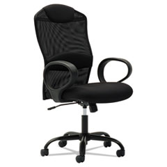 OIF Mesh High-Back Task Chair, Fixed Loop Arms, Black OIFMD4114