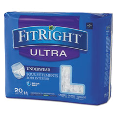 """Medline FitRight Ultra Protective Underwear, Large, 40-56"""" Waist, 20/Pack"""