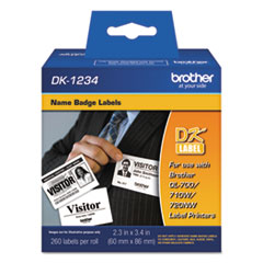 """Brother Die-Cut Name Badge Labels, 2.3"""" x 3.4"""", White, 260/Roll"""