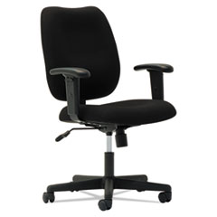 OIF Upholstered Mid-Back Task Chair, Height Adjustable T-Bar Arms, Black OIFTM4810