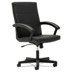 OIF Executive Mid-Back Chair, Fixed Curved Loop Arms, Black OIFTC4219