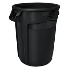 Rubbermaid® Commercial Round Brute Container, Executive Series, Plastic, 32 gal, Black, 6/Carton