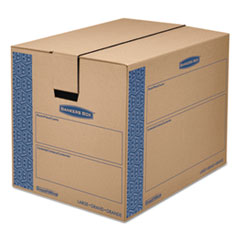 SmoothMove Prime Large Moving Boxes, 24l x 18w x 18h, Kraft/Blue, 6/Carton