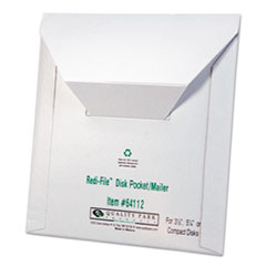 Quality Park™ Redi-File Disk Pocket/Mailer, CD/DVD, Square Flap, Perforated Flap Closure, 6 x 5.88, White, 10/Pack