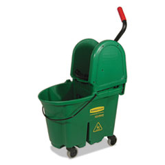 Rubbermaid® Commercial WaveBrake Bucket/Wringer Combos, 35 qt, Green