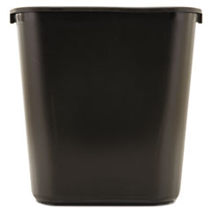 Deskside Plastic Wastebasket, Rectangular, 7 gal, Black