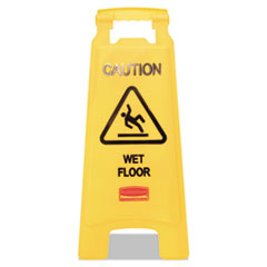Rubbermaid® Commercial Caution Wet Floor Floor Sign, Plastic, 11 x 12 x 25, Bright Yellow, 6/Carton